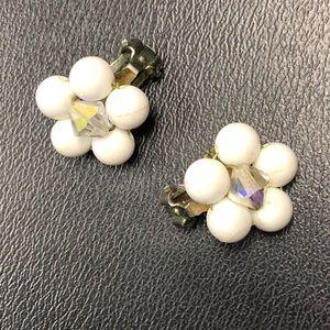 Vintage White Bead & AB Crystal Flower Earrings